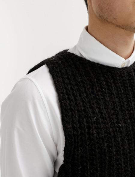 Tender  761 Mixed Voe Wool Rib Sleeveless Pullover Black