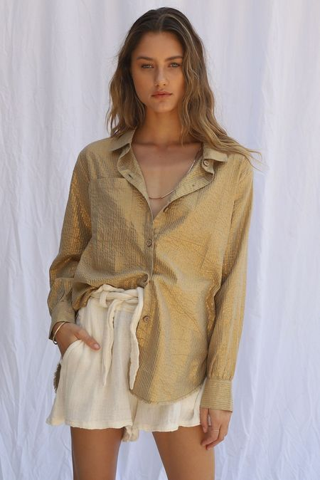 Jen's Pirate Booty Pappy's Button Down top - Gold Stripe Yucca