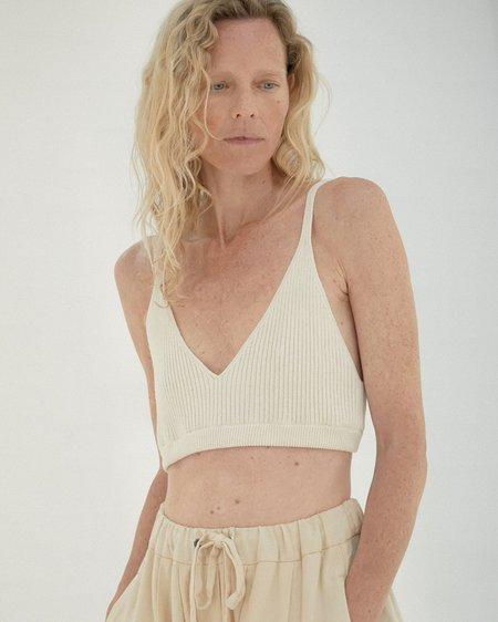 Mónica Cordera Ribbed Knit Top - Natural