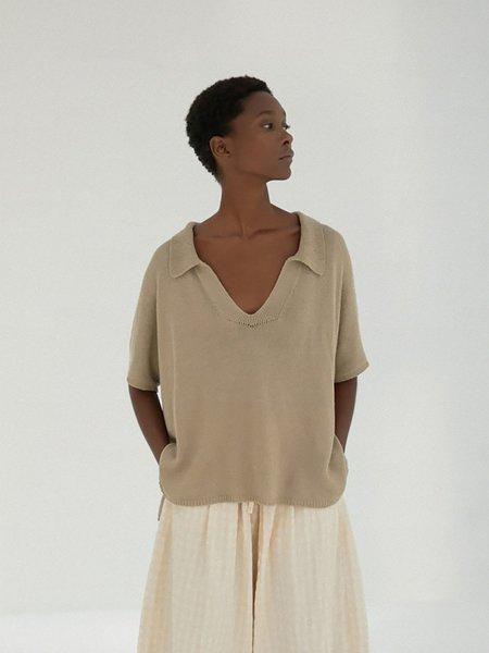 Monica Cordera Knit Polo - Smoked Green