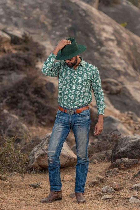 Dushyant Asthana The Bandit Western Shirt - Aztec Print