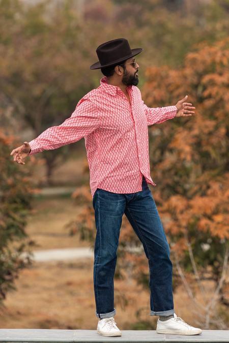 Dushyant Asthana The Barrington Long Sleeves Shirt - Red Leaf Print