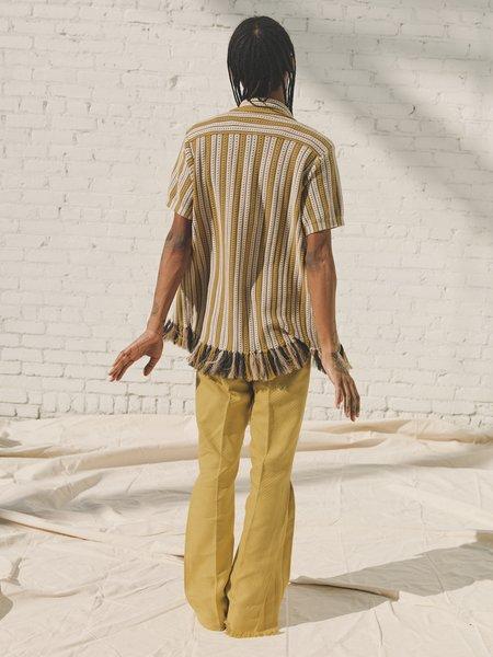 CMMN SWDN Weston Fringe Knitted Shirt - Beige Stripe