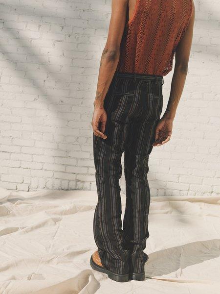 CMMN SWDN Stripe Armas Inverted Front Pleat Trouser - Black