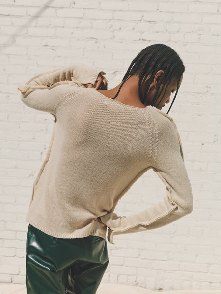 Marni Deconstructed Raw Cashmere Knit Sweater - Natural