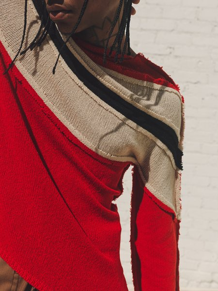 Marni Deconstructed Raw Cashmere Knit Sweater - Red