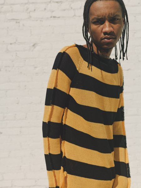 Marni Striped Loose Knit Deconstructed sweater - Yellow