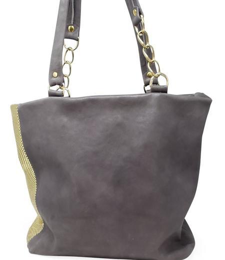 Laura B Milena Leather Shopper bag - Grey/Gold