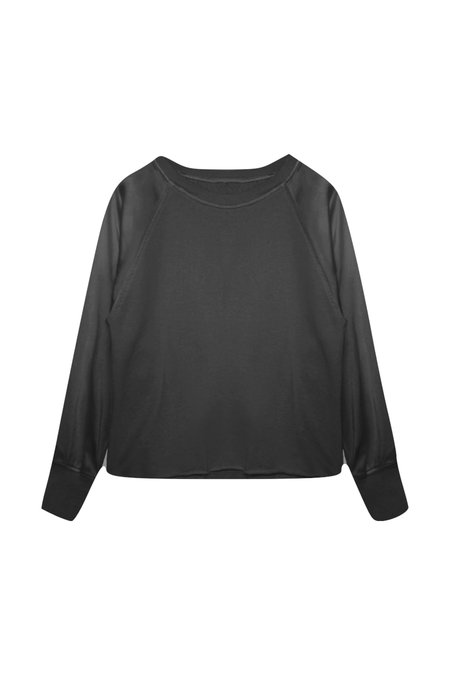 KES Silk Raglan Sleeve Sweatshirt - Black