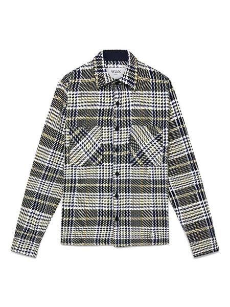 Wax London WHITING OVERSHIRT TOP - HOUNDSTOOTH PLAID GREEN