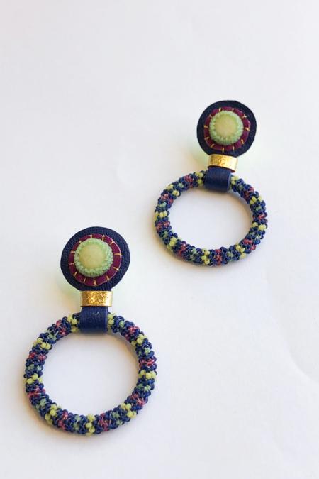 Robin Mollicone Hoop Earrings - Blue/Olive Jade