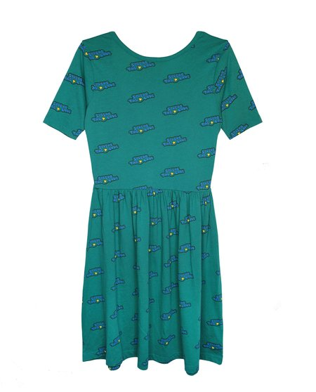 kids Bandy Button Moo Dress - emerald green