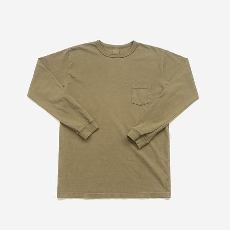 3Sixteen Garment Dyed Heavyweight L/S Pocket T-Shirt - Military Green