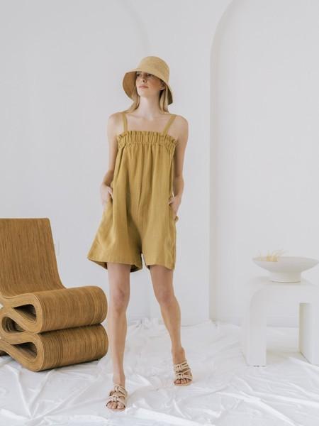 LAUDE the Label Thea Romper - Turmeric Linen