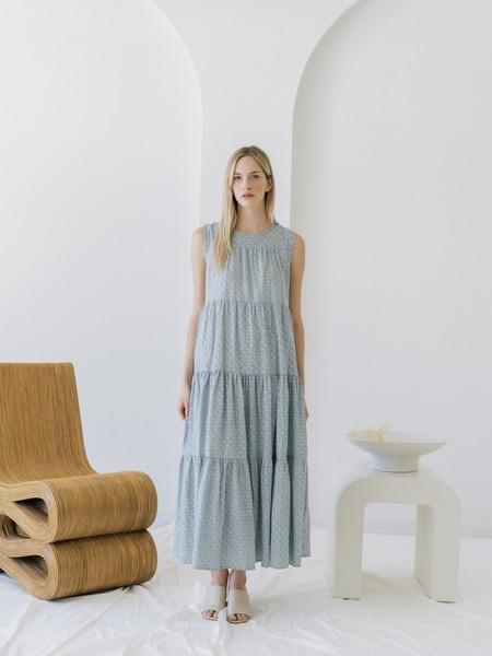 LAUDE the Label Tiered Maxi Dress - Indigo Block Print