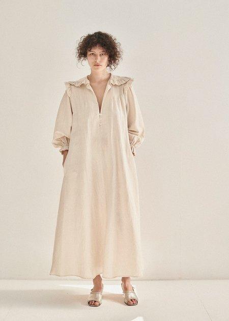 Caramel   Frill Dress - Ecru