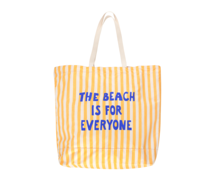 kids Manifesto Oversized Tote Bag - yellow/cream stripes