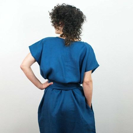 Erin MacLeod Linen Shift Dress w/ Pockets - Teal