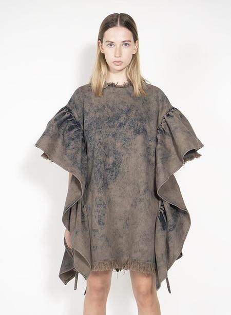 Oversized T shirt Dress with Flounced Sleeves - Khaki