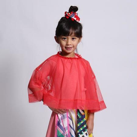 Kids Tia Cibani Kids Layering Smock Tulle Blouse - Geranium Red