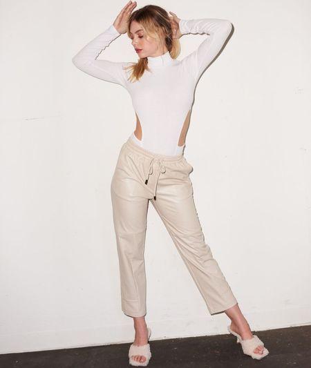 LNA Faux Leather Pant - Bone