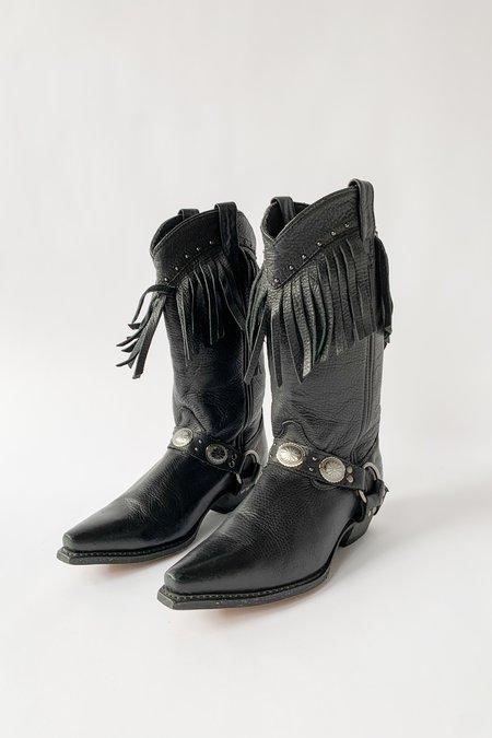 Vintage Leather Fringe Cowboy Boot - black