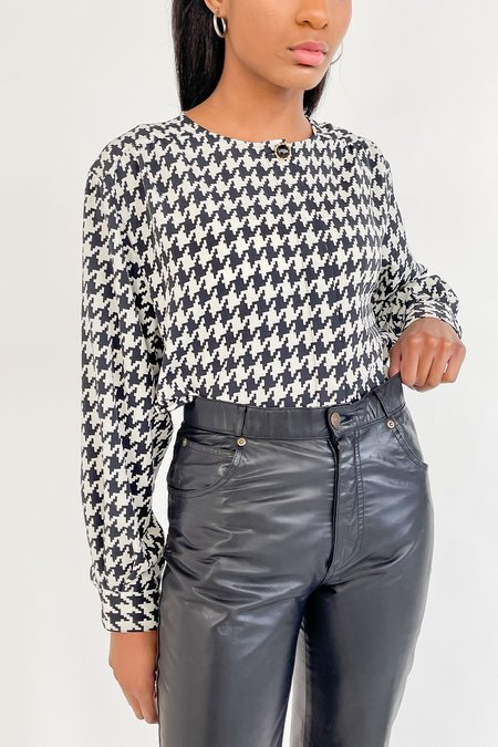 Vintage Houndstooth Relaxed Blouse - black/white
