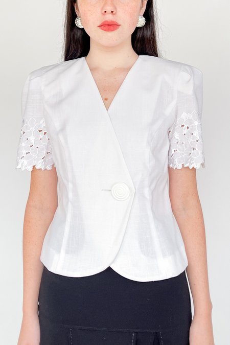 Vintage Crochet Puff Sleeve Blouse - White