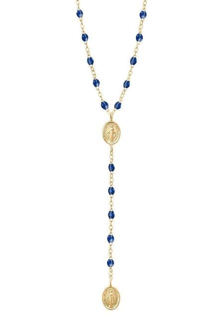 Gigi Clozeau Classic Madone Rosary Necklace - YELLOW GOLD/LAPIS