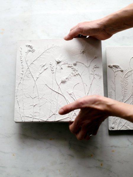 Rachel Dein Japanese Anemone Concrete Tile - white