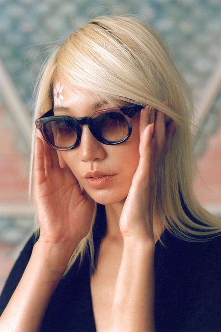 Anna Sui Square Sunglasses - Emerald Multi