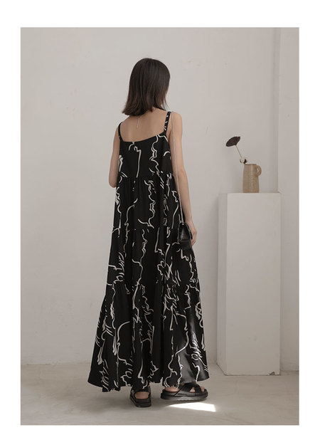 OPUSION Maxi Abstract Prints Slip Dress