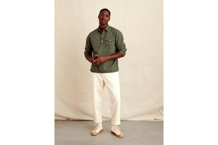 Alex Mill Cotton Twill  Popover Shirt - Dusty Olive
