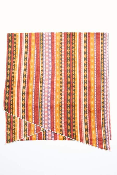 Engineered Garments Long Scarf - Orange Cotton Lawn Batik Stripe