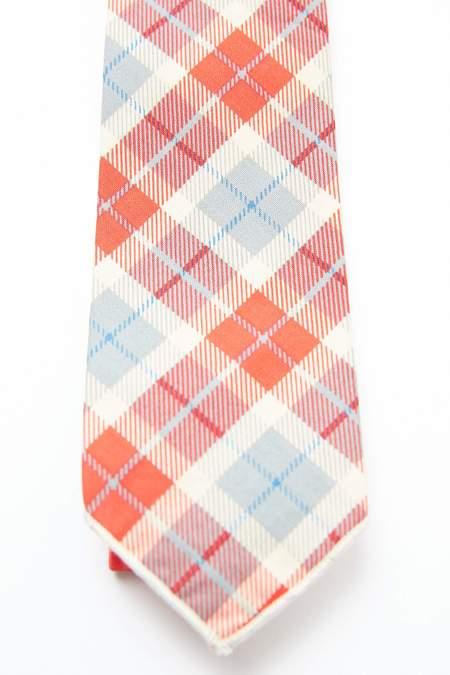Engineered Garments Neck Tie - Red/Beige Cotton Printed Plaid