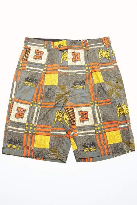 Engineered Garments Sunset Short - Black/Gold Cotton African Print