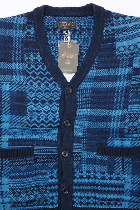 Beams Plus Patchwork-Like Jacquard Knit Cardigan - INDIGO