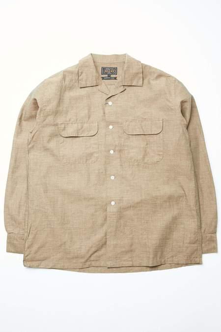 Beams Plus Open Collar Cotton Linen Chambray shirt - KHAKI