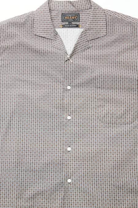 Beams Plus Open Collar Geometric Print Classic Fit shirt - BROWN