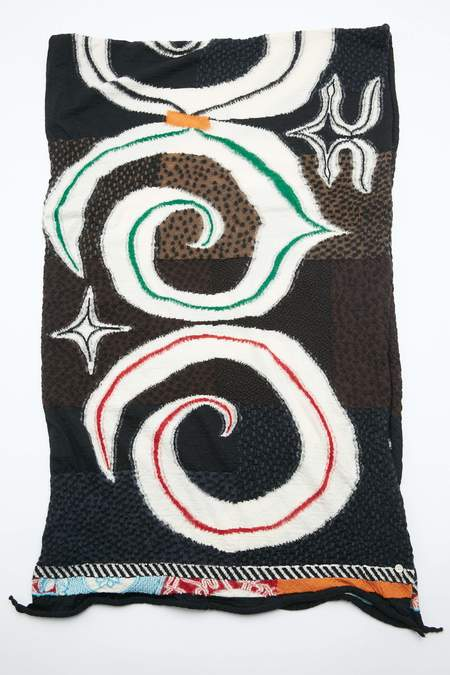 Kapital Compressed Wool AINU FIVE RINGS Scarf - Black