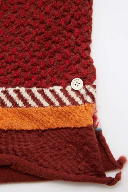 Kapital Compressed Wool AINU FIVE RINGS Scarf - Red