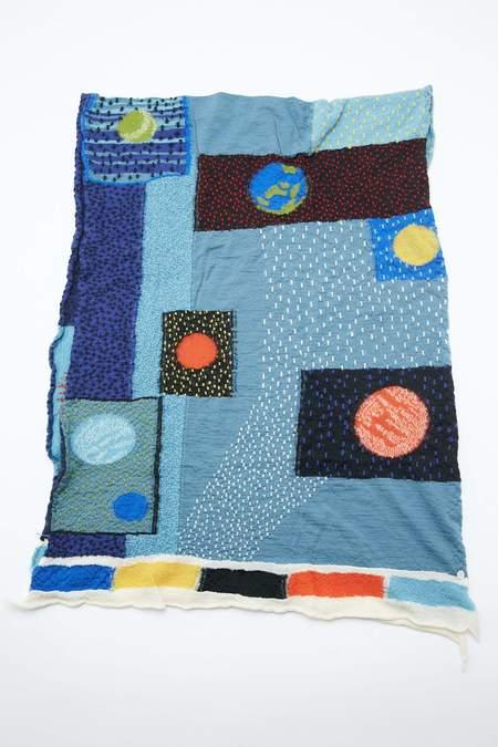 Kapital Compressed Wool GABBEH UNIVERSE Scarf - Blue