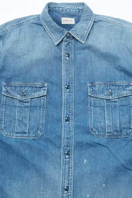 Kapital KOUNTRY 8oz Denim BONE Embroidery Work Shirt - Indigo