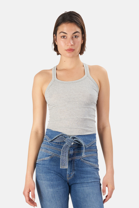Re/Done Ribbed Tank Top - Heather Grey
