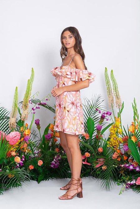 Sundress Maelle Short Riviera Linen Dress - Tan floral print
