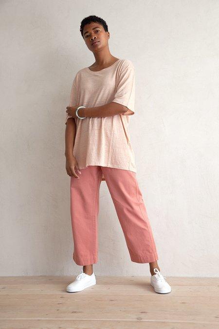 Ali Golden Linen Oversized T-shirt - Petal