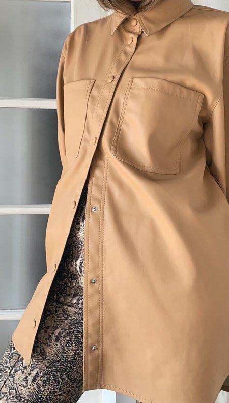 VERO MODA Oversized Vegan Leather Shirt
