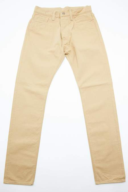 Pure Blue Japan Woven 12oz Selvedge Twill Chino Relaxed Tapered Wash - Beige
