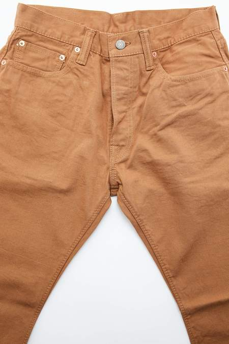 Pure Blue Japan 1150 Woven 12oz Selvedge Twill Chino Relaxed Tapered Wash - Camel