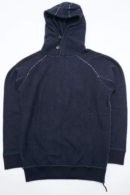 Pure Blue Japan Knitted Indigo Jacquard Hoodie - Indigo Herringbone